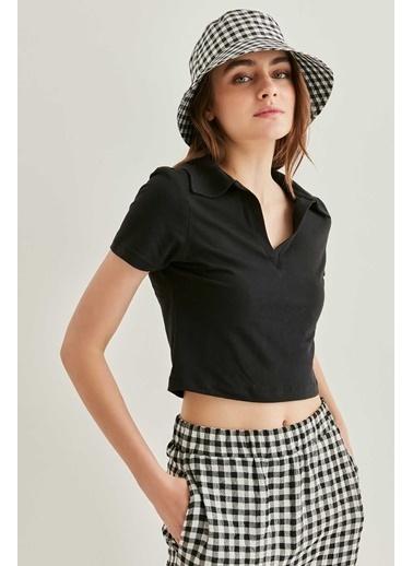 Vitrin Polo Yaka Pamuk Crop Tshirt Siyah